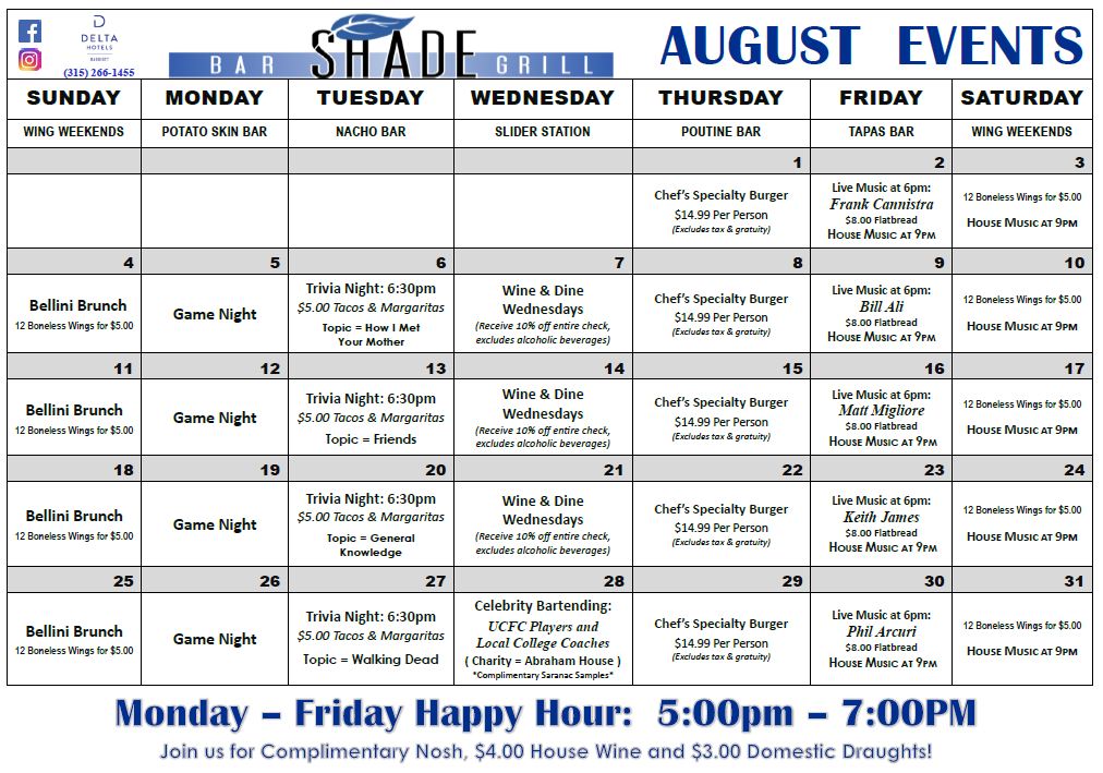 August Specials - Shade Bar and Grill - Restaurant in Downtown Utica by The Stanley Theatre