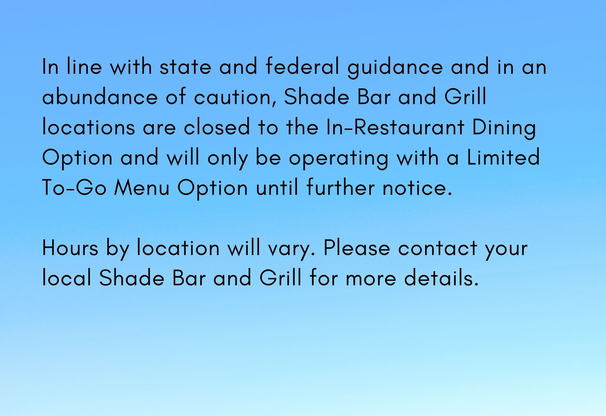 Coronavirus Information from Shade Bar and Grill